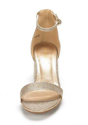 Dröm Par Kvinna Låg Bit Låg Klack Pump Sandaler Guld Glitter