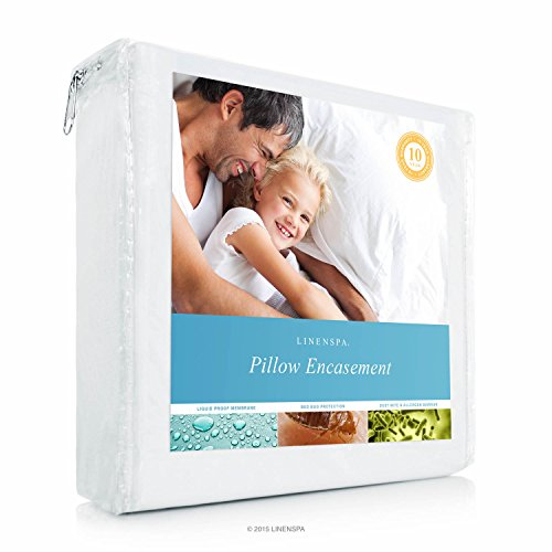 Allergen Barrier (LINENSPA Zippered Encasement Waterproof, Dust Mite Proof, Bed Bug Proof Breathable Pillow Protector - King Size)