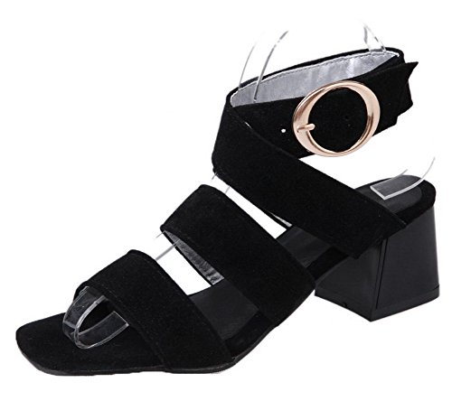 Kitten Heels Black Frosted Buckle Solid WeiPoot EGHLG005069 Toe Sandals Open Women's P5qxWnvw7