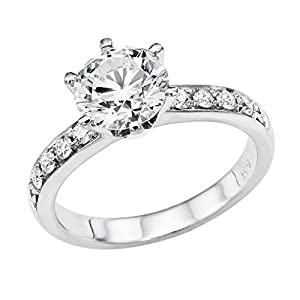 GIA Certified 14k white-gold Round Cut Diamond Engagement Ring (1.81 cttw, I Color, VS2 Clarity)