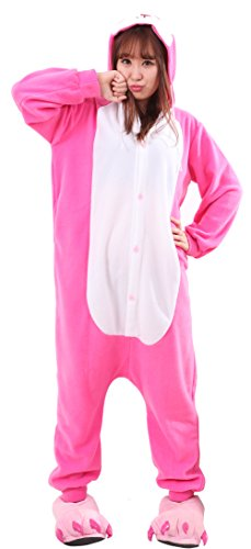 Honeystore Unisex Warm Sleepwear Adult Cosplay Rabbit Pajamas Costume Homewear Fuchsia L