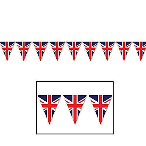 Beistle 59853 Union Jack Pennant Banner, 11 x 12, Red/White/Blue (Value 3-Pack)