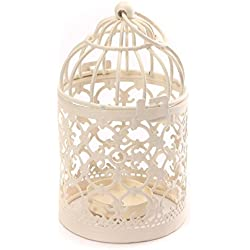 Hosaire Metal Tealight Candle Holder 1 pcs Hanging Lanterns Creative Wedding Home Table Decoration Birdcage White 3.1x5.5 In