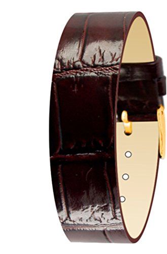 Moog Paris Brown Calf Leather Bracelet for Women, Varnished Alligator Pattern, Pin Clasp, 18mm Band - CC-05G