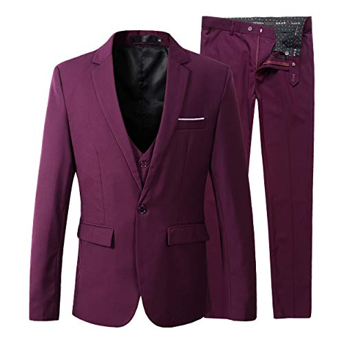 Beninos Men's Slim Fit Suit Blazer Jacket Tux Vest Pants 3 Pieces Suit Set (B305 Burgundy, L)