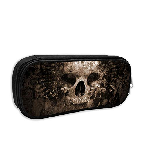 RAINTGG Dark Skull Skeleton Child Pencil Case Creative Pen Bag Stationary Multipurpose Make Up 3D Print Custom Cartoon Portable Small Light Weight Cosmetic Bag]()