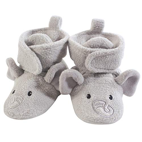 Hudson Baby Cozy Fleece Booties with Non Skid Bottom, Neutral Elephant, 0-6 Months