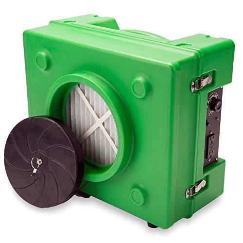 B-Air BA-RA-650-GN 1/3 HP 2.5 Amp HEPA Air Purifier Scrubber for Water Damage Restoration Equipment Negative Air Machine, Green