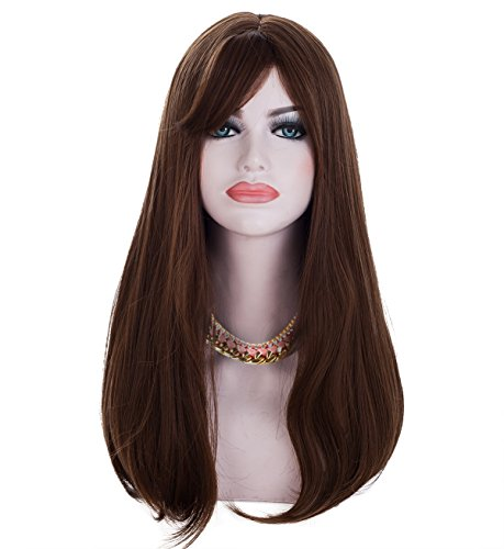 Spretty Long Dark Brown Small Wavy Synthetic Wig for Women's Daily Dress Cosplay