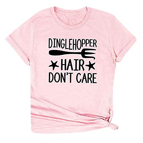 - 2019 Hot! Simple Women T-Shirt,Dingle Hopper Hair Don't Care Letter Print Tops Large Size Short Sleeve Tee Blouse Pink