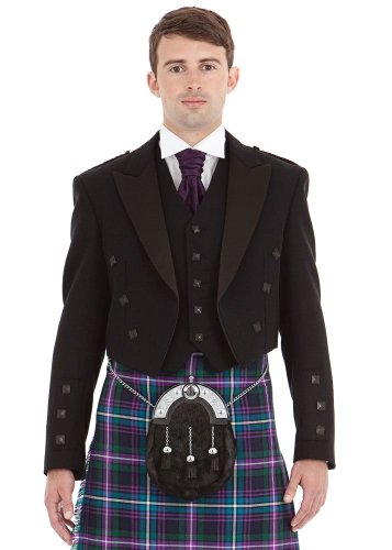 Mens Contemporary Black Prince Charlie and 5 Button Vest Size: 48S by Kilt Society