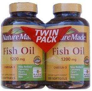 Huile de poisson 1200 mg Omega-3, 100 gels (Pack de 2 Bouteilles )
