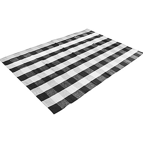 Ukeler Area Rugs for Living Room/Bedroom/Dinning Room, Black and White Plaid Rugs Cotton Hand-Woven Checkered Carpet 47.3''x70.8'' ()