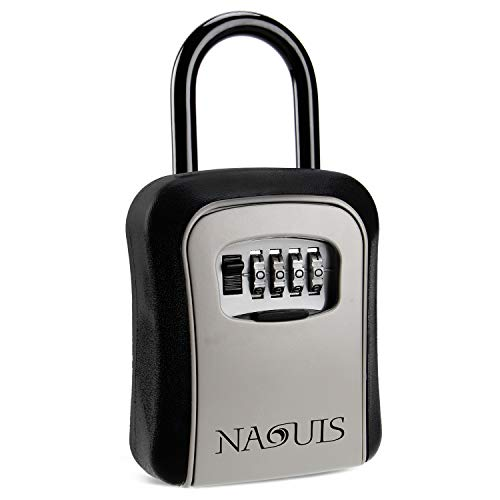 Naouis RQWY-08 5 4-Digit Combination Door Lock Box for Car Outisde,House Key Storage, Black