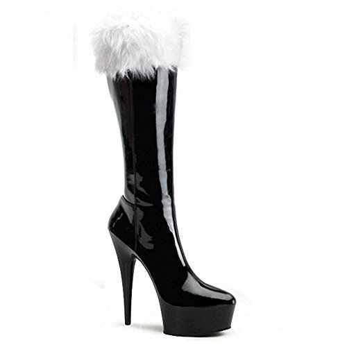 4 Dance heels Shoes Boots Crystal Nightclub Plush Christmas Leather 35 Black Women Red High Long Performance Super XZRwg0q