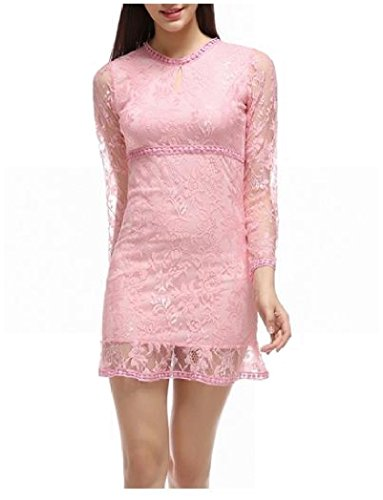 Vestito Donne Manica Sexy Magro Bodycon Lunga Comodo Rosa Mini Solido Pizzo xIpqIA8