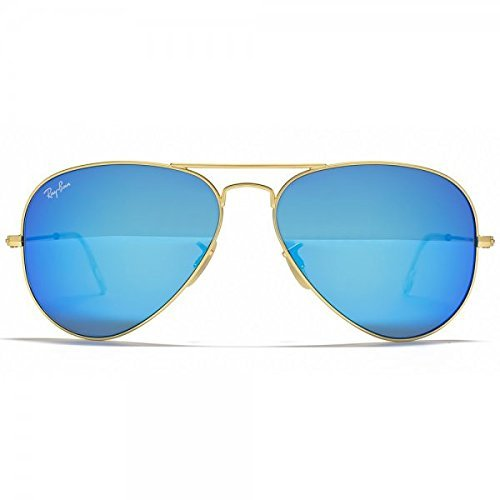 Ray Ban Rb3025 Large Aviator Sunglasses Matte Gold W Blue