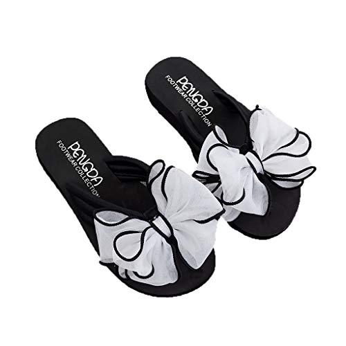 Lotus.Flower Summer Fashion Women's Bow Wedges Flip Flops Non-Slip Clip Toe Beach Slippers
