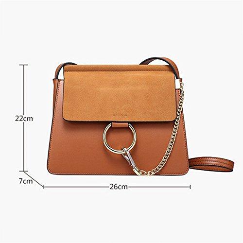 Messenger Pequeño Embrague Retro Bolso Bag Temperamento Cuadrado Cuero Genuino QQWE De Brown Ocasional Señora Hombro Cadena 87nwgxI