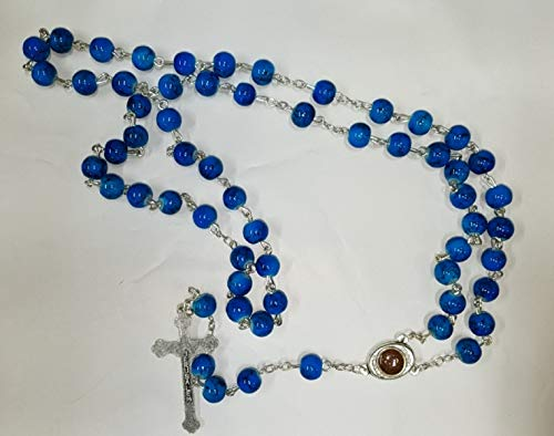 (Bethlehem Gifts TM Blue Green Eilat Stone Rosary Necklace Holy Soil Medal Silver Plated 19