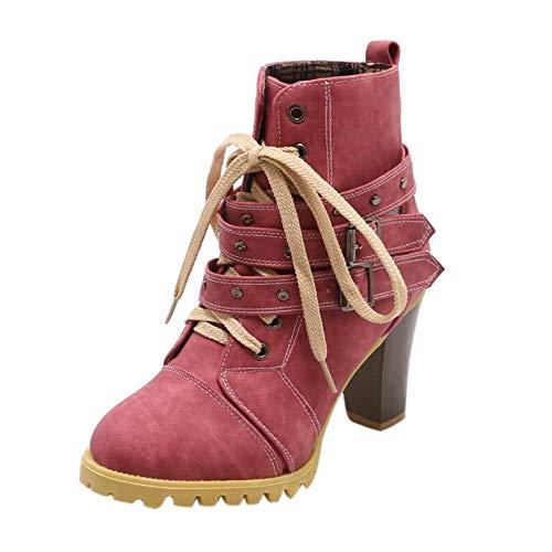 Botas Zapatos de mujer Zapatos casuales Moda para mujer Hebilla de cinturón Remache Grosor alto con botines cortos de ocio Botas de mujer Botas de tobillo ...