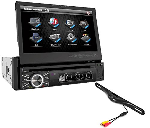 Power Acoustik Single Din AM/FM/DVD/BT 6.2-inch with Navigation + CAM-600 License Plate Bolt-On Rear View Camera w/Built-in I.R. Camera