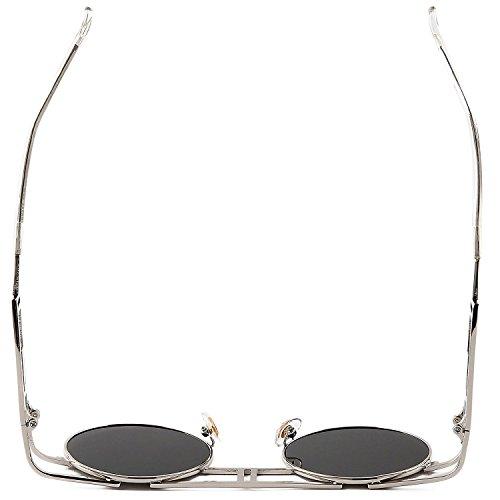 al Hombre sol Marco Libre de Steampunk Plata Reflectoras aire góticas Gafas Lente Gris De Sunglasses 5tXHZwqxx
