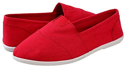 Red Memory Flat Soda On Canvas Gel S Foam Loafers Insoles Shoes Linen OBJI Women Slip Hdw8q6Cd
