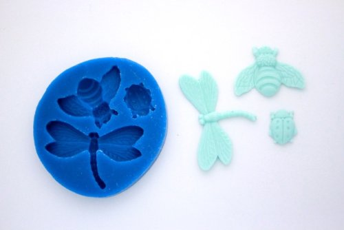 BEE DRAGONFLY LADYBUG SILICONE MOLD FOR FONDANT, GUM PASTE, CHOCOLATE, HARD CANDY, FIMO, CLAY, SOAPS