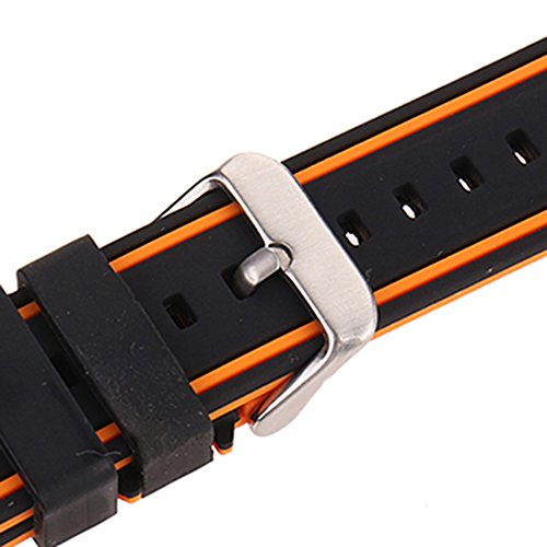 EACHE Silicone Watch Strap Rubber Replacement Diver Sport Waterproof Watch Band Black Orange Silver Buckle 20mm by EACHE (Image #6)