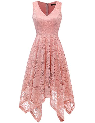 MEETJEN Women's Vintage Floral Lace Dress Handkerchief Hem Asymmetrical Cocktail Formal Swing Dress Blush -
