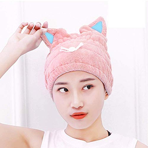 Hair Wrap Accessory (Microfiber Bath Towel Hat Hair Quick Drying Towel Hat Cute Bath Tool Super Soft Absorbent Hair Dry Hat with Premium Water-absorbent Ability for Ladies or Girls (Pink))