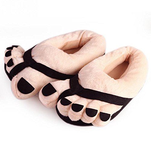Bei wang Funny Winter Indoor Toe Big Feet Warm Soft Plush Slippers Novelty Gift Adult Shoes -Black Unisex