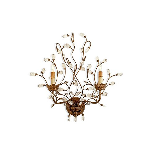 (Currey and Company 5882 Crystal Bud 2-Light Wall Sconce, Cupertino Finish and Crystal Accents)