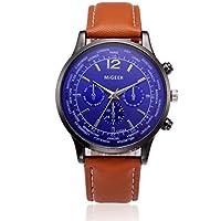 Big Promotion ! Auwer Luxury Watch, Retro Design Leather Band Analog Alloy Quartz Wrist Watch Mens Clock (Brown)