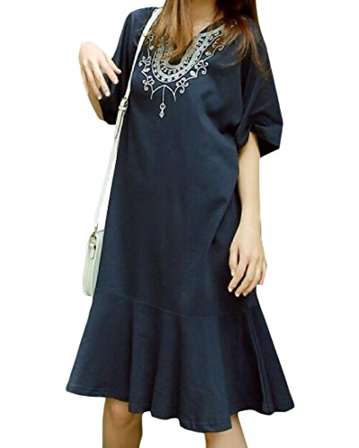 Dark Relaxed Short Women Top Stylish Sleeve Dress Embroidered Blue Coolred BaZqfR