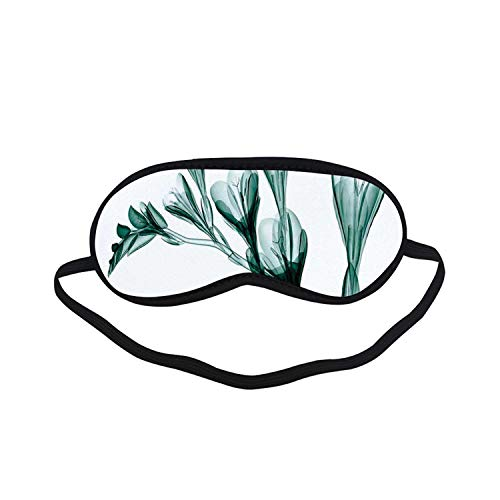 (Xray Flower Fashion Black Printed Sleep Mask,X ray Image of Flower on Simple Background Nature Inspired Illustration Print for Bedroom,7.1