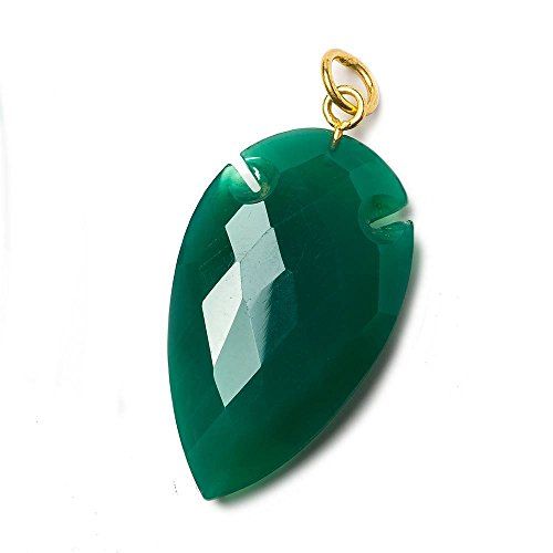36x20mm Pine Green Onyx Faceted Arrowhead Focal Pendant 1 piece