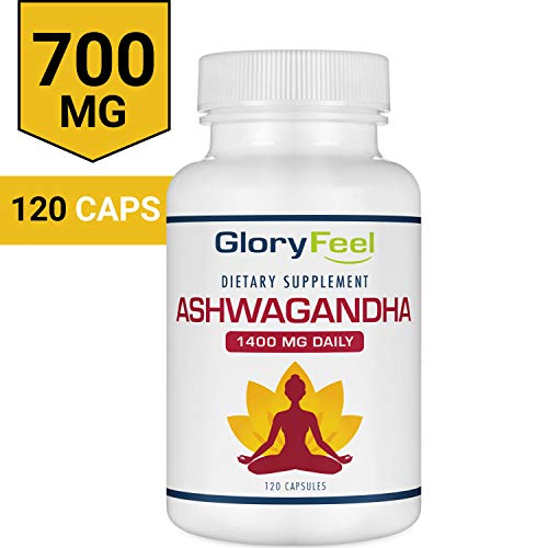 Ashwagandha 1400mg Made with Organic Ashwagandha Root Powder & Black Pepper Extract – 120 Capsules. 100% Pure Ashwagandha Supplement for Stress Relief, Anti-Anxiety & Adrenal, Mood & Thyroid Support