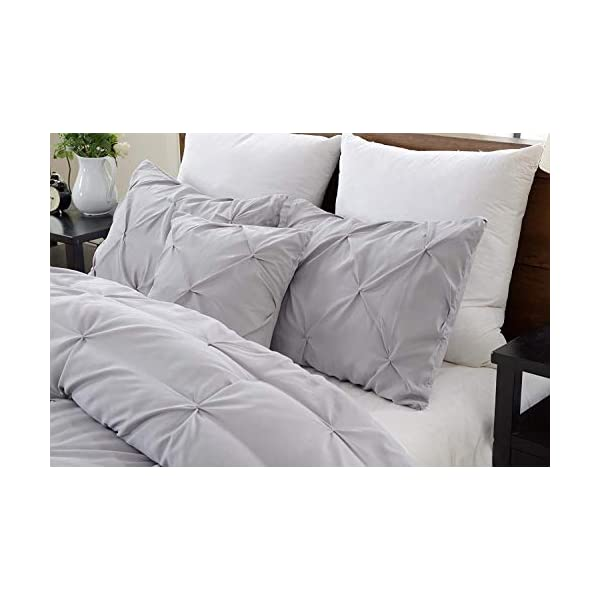 "Valencia Beddings Silver Grey Pinch Pleated Pintuck Pillow Shams Set of 2 – Premium 350 Ultra-Soft Natural Cotton Decorative Pillow Cover Pintuck European Pillow Sham 2 Pack, Euro 26"" x 26"""