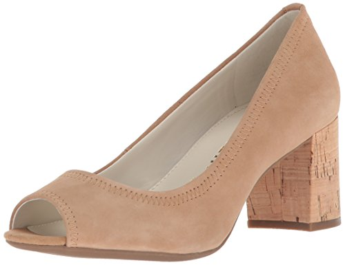 Anne Klein Women's Meredith Peep Toe Pump Natural Suede, 6 M US