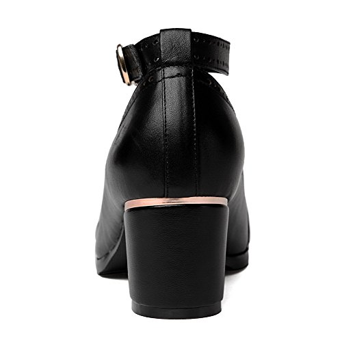 Allhqfashion Donna Tonde Pompe A Punta Chiusa In Pelle Di Vacchetta Con Scava Fuori E Ornamento In Metallo Nero