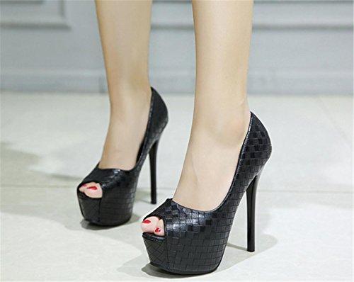 HETAO personalità Frauen-Partei-Abschlussball-Hochzeits-Klassische Schuh-Größen-Damen-Plattform-Hohe Absätze Pumpen Geschenk Des Mädchens Black