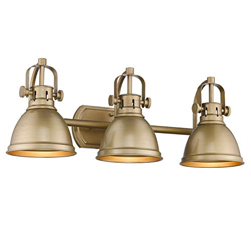 Emliviar 3-Light Bathroom Vanity Lights, Antique Gold Finish with Metal Shade, 4054 -