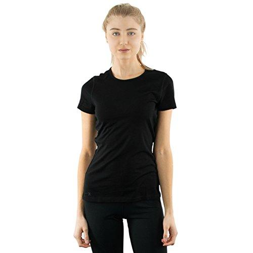 Woolx Women's Addie Soft Lightweight Merino Wool Tee,Eliminates Odor & Sweat, Black, Medium