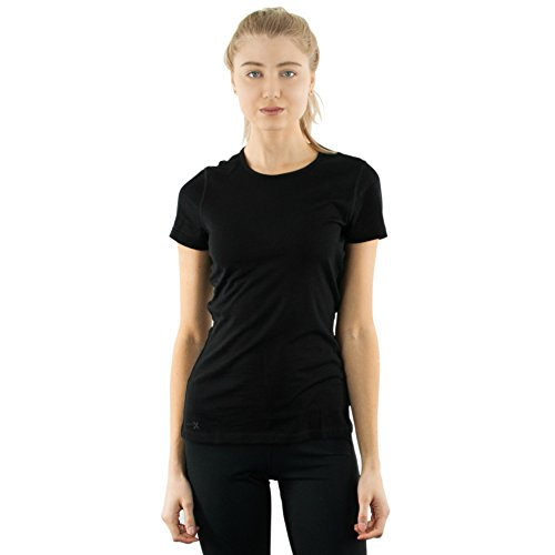 WoolX Women's Merino Wool Tee - Lightweight - Wicks Moisture - Workout Tee - BLACK- (Inside Out Ladies T-shirt)