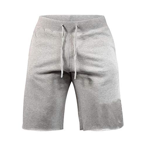 Nacome_Promotion Men's Classic Fit Casual Cotton Jogger Gym Workout Short Pants with Elastic Waist (Gray, XL)