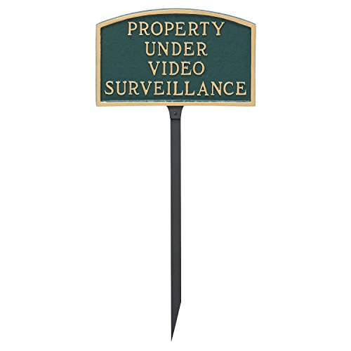 Montague Metal Products 5.5'' x 9'' Arch Property Under Video Surveillance Statement Plaque with 23'' Lawn Stake by Montague Metal Products (Image #1)