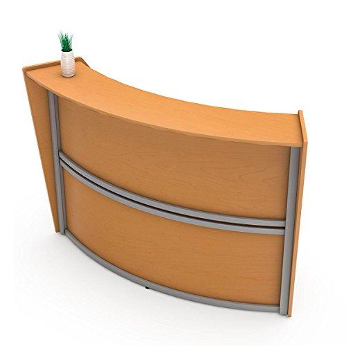 Price comparison product image Linea Italia Curved Reception Desk,  Single Unit,  Maple Laminate,  Modern Office Lobby,  Perfect for Small Spaces,  Receptionist,  Secretary