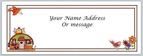 (120 Personalized Address Labels Primitive Country Birdhouse (c 453))